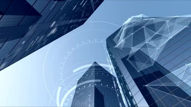 Impressive Digital City Buildings Architecture: Stock Motion Graphics
