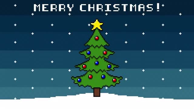 Charming 8-bit Christmas Background: Stock Motion Graphics