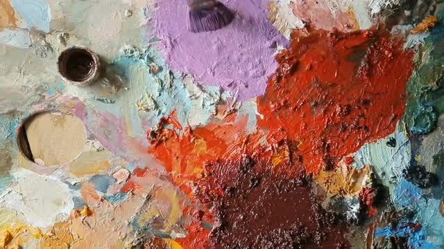 Close-up Of Paints On A Palette: Stock Video