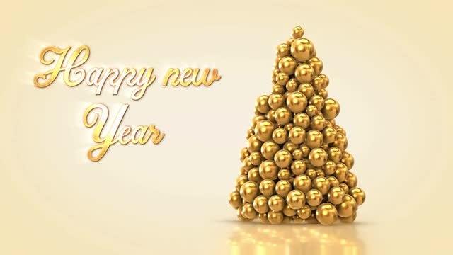 Happy New Year Decorative Tree: Stock Motion Graphics