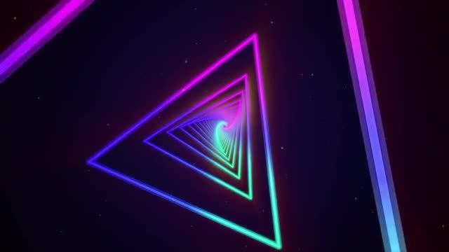 Colorful Triangles Neon Background: Stock Motion Graphics