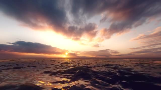 Sunset Over Robust Waves: Stock Motion Graphics