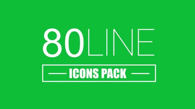 80 Line Icons Pack: Motion Graphics Templates