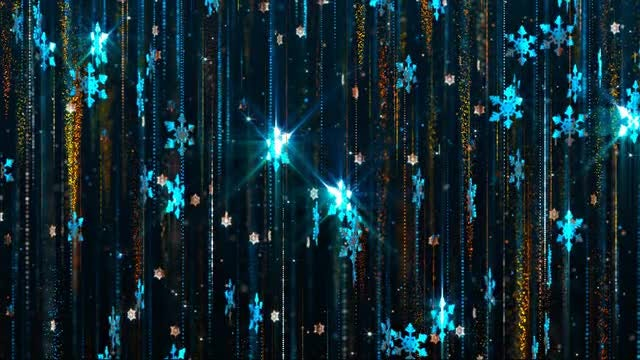 Blue Snowflakes Falling Christmas Background: Stock Motion Graphics