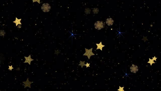Gold Stars-Snowflakes Looped Background: Stock Motion Graphics