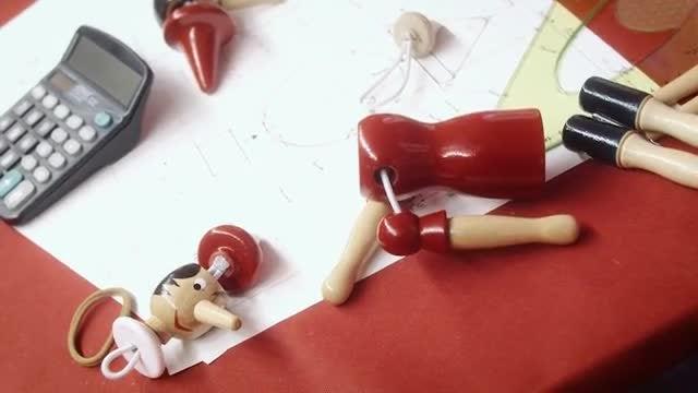 Pinocchio Toy Construction Plan: Stock Video