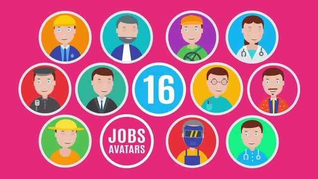 16 Job Avatar Icon Pack: Motion Graphics Templates