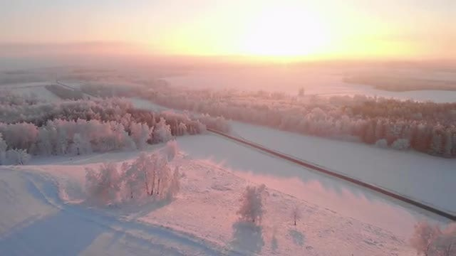 Drone Exploring The Landscape In Winter: Stock Video