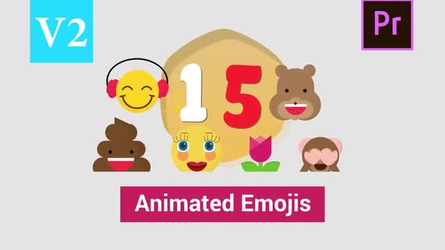 15 Animated Emojis V2: Motion Graphics Templates