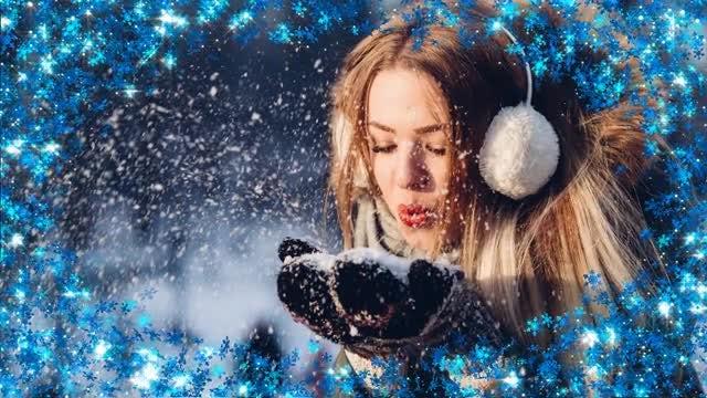 Shiny Snowflake Frame: Stock Motion Graphics