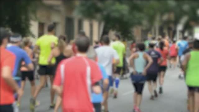 Group Of Athletes Running Marathon: Stock Video
