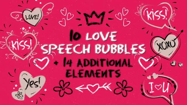 Love Speech Bubbles & Elements: After Effects Templates