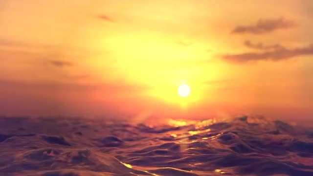 Roughing The Ocean At Sunset: Stock Motion Graphics