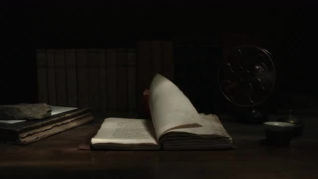 Traditional Study Desk With Old Books: Stock Video