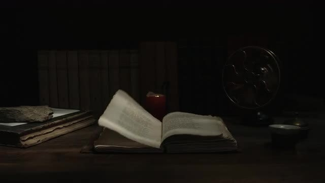 Wind Blowing An Old Book: Stock Video