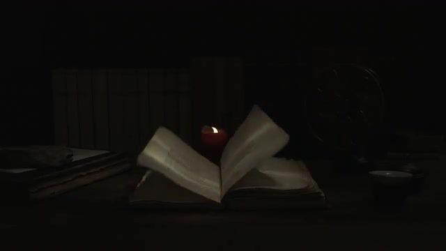 Lightening Illuminates Old Study Room: Stock Video