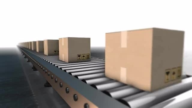 Cardboard Boxes Conveyor Loopable Animation: Stock Motion Graphics