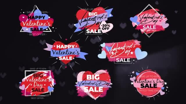 8 Valentine's Day Sale Titles: After Effects Templates