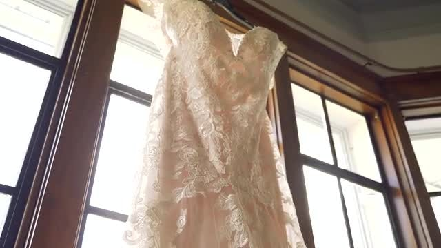 Long Elegant Wedding Dress: Stock Video