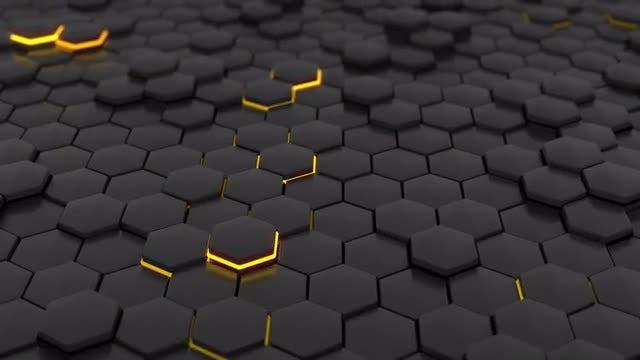 Yellow Hex Lights On Floor: Stock Motion Graphics
