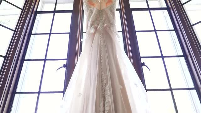Wedding Gown On The Window: Stock Video