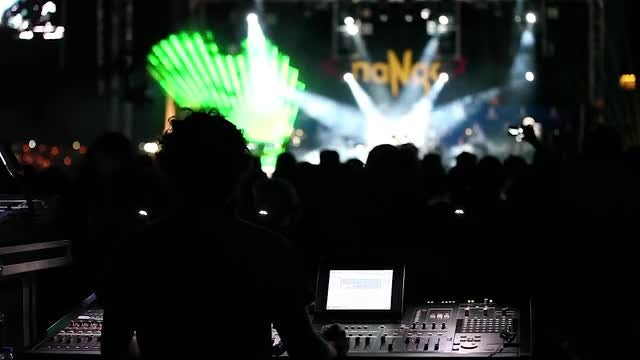 Sound Engineer Working At Concert: Stock Video