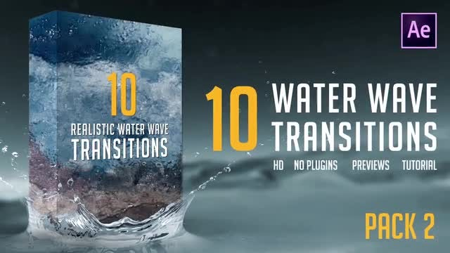 Water Wave Transitions Pack 2: After Effects Templates