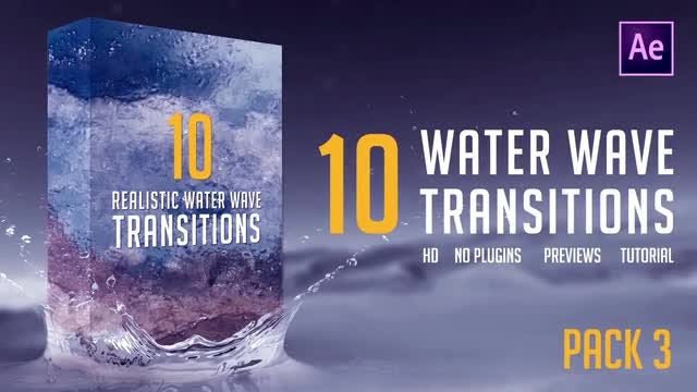 Water Wave Transitions Pack 3: After Effects Templates