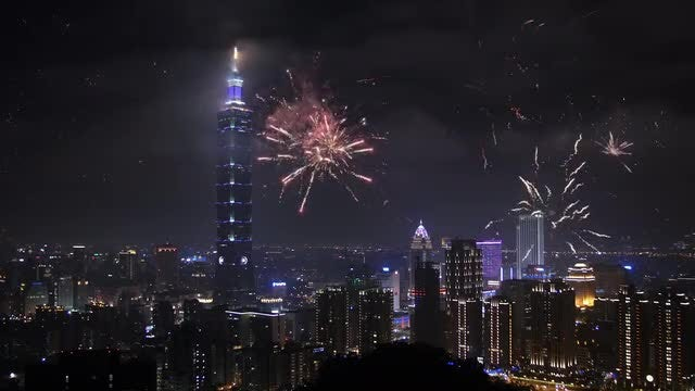 Night City Fireworks: Stock Video