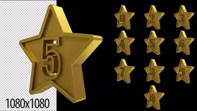 3D Gold Star Numbers Loop: Stock Motion Graphics