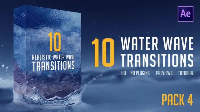 Water Wave Transitions Pack 4: After Effects Templates