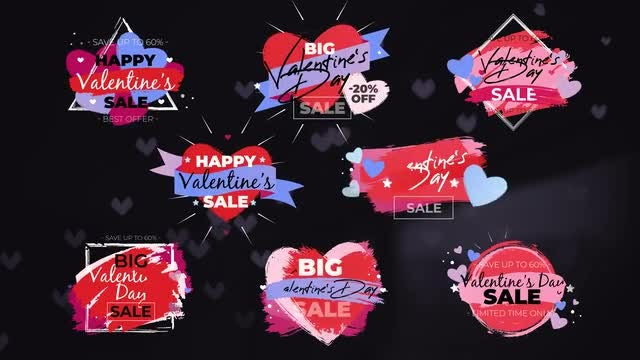 8 Romantic Sale Labels: Motion Graphics Templates