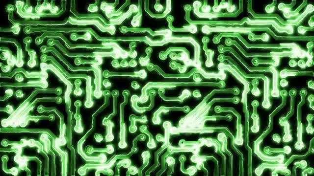 Circuit Board With Electric Signals: Stock Motion Graphics