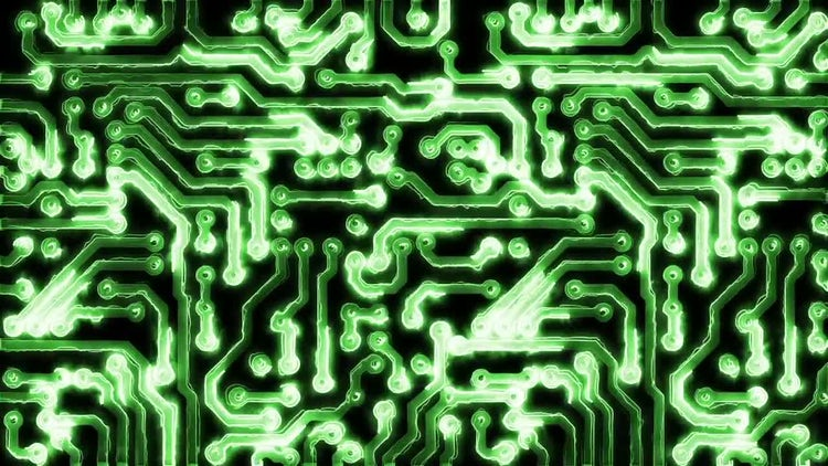 Circuit Board With Electric Signals: Motion Graphics