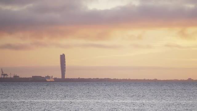 Malmo Sweden City Skyline: Stock Video