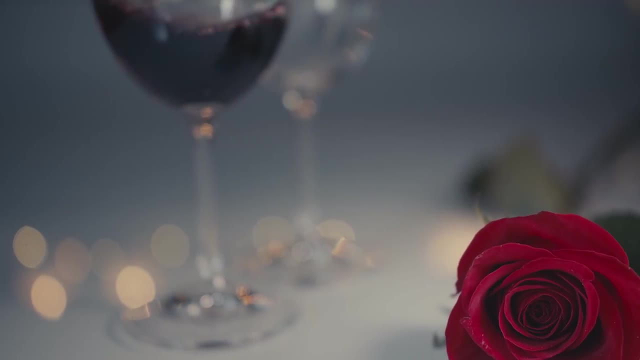Red Rose. Two Glasses Are Filled 160649