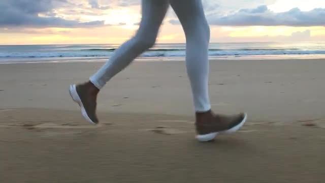 Jogger On Beach Sand: Stock Video
