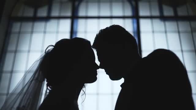 Wedding Kiss Silhouette: Stock Video