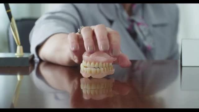 Teeth Cast On Desk: Stock Video