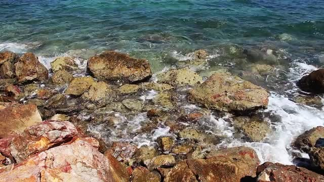 Rocks And Sea Water: Stock Video