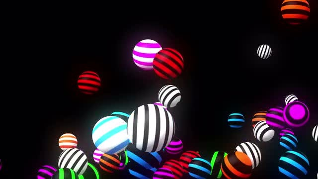 Bouncy Striped Light Spheres: Stock Motion Graphics