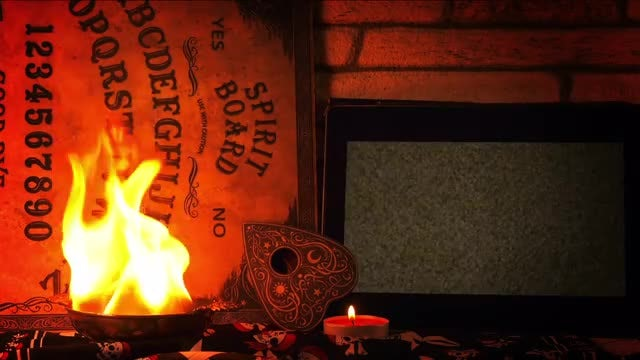Ouija Board, Skull On Tablet: Stock Video
