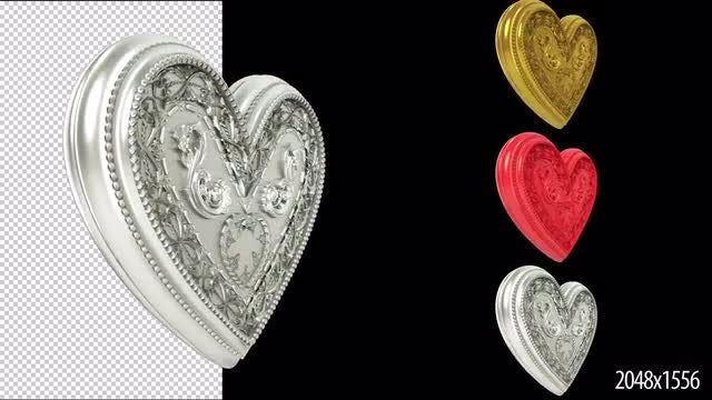 Rotating 3D Ornate Hearts Pack: Stock Motion Graphics