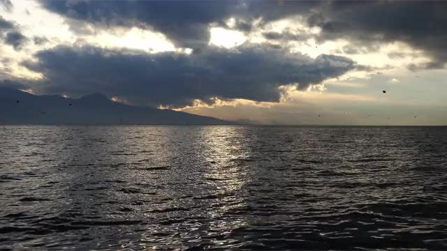 Dark Clouds And Sea View 4k: Stock Video
