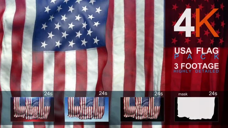 4K 3Usa Flag Pack : Stock Motion Graphics