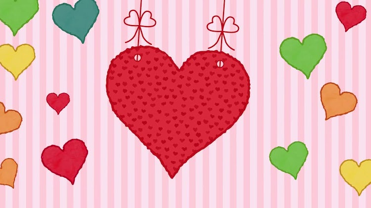 Valentine Hearts Over Stripe Background: Stock Motion Graphics