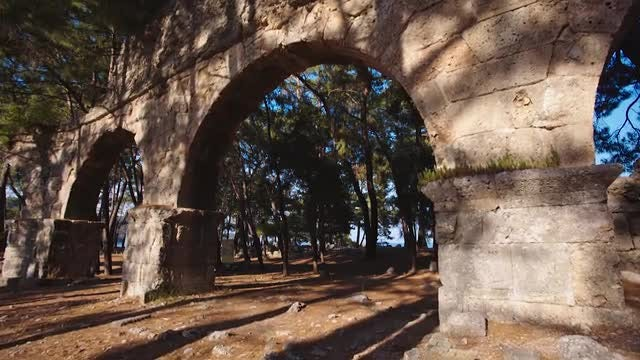 Ruins Of Fortress At Sunset: Stock Video