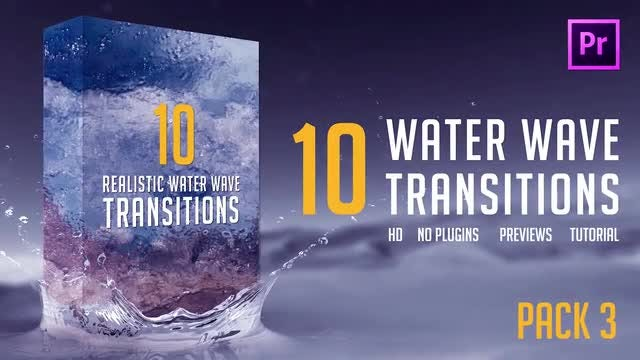 Water Wave Transitions Pack 3: Premiere Pro Templates
