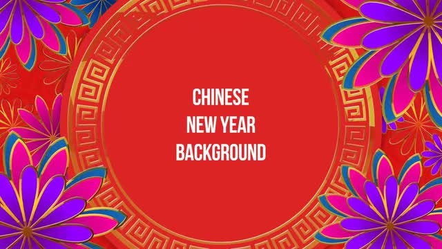 Floral Chinese New Year Frame: Stock Motion Graphics