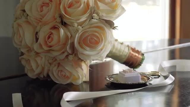 Wedding Bouquet & Earrings: Stock Video